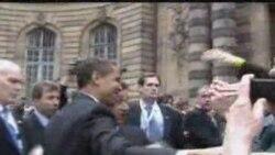 Presidents Obama and Sarkozy in Strasbourg