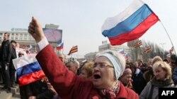 Пророссийский митинг в Донецке. Март 2014 года. Иллюстративное фото