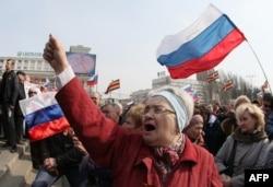 Пророссийская демонстрация в Донецке