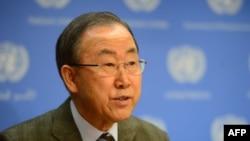Генеральный секретарь ООН Пан Ги Мун делает заявление в штаб-квартире ООН. Нью-Йорк, 19 января 2014 года.
