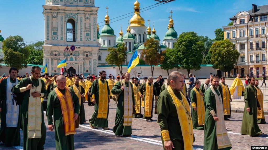 Під час відзначення 1030-річчя хрещення Русі-України під гаслом «За єдину помісну церкву». Київ, 28 липня 2018 року