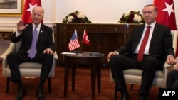 U.S. Vice President Joe Biden (left) attends a meeting with President Recep Tayyip Erdogan of Turkey on the sidelines of the nuclear summit in Washington, D.C., in March.