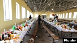Armenia - Forensic experts inspect a dining hall in the village of Shamiram where four men were killed and seven others wounded, 1Aug2017.
