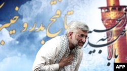 Said Jalili shows thanks to supporters on June 12, during his ultimately unsuccessful presidential campaign.