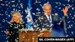"""Биньямин Нетаньяху с супругой в предвыборном штабе партии """"Ликуд"""", 3 марта 2020 года"""