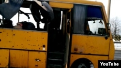 Автобус із загиблими цивільними внаслідок обстрілу, 13 січня 2015 року