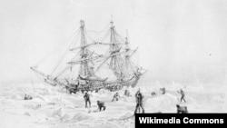 Судно «Террор» застрягло у льодах Північного Льодовитого океану, малюнок