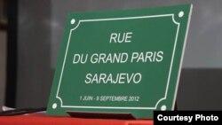 Tabla sa novim nazivom ulice u Sarajevu