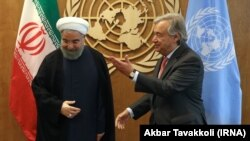 Iran President, Hassan Rouhani meets UN Chief Antonio Guterres at the United Nations.