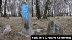 Belarus - Vandals desecrated cemetery in Horki. On tombstones a swastika painted, 14Apr2015