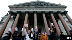 Protest against the transfer of the St. Isaac's Cathedral to the Russian Orthodox Church in St. Petersburg.