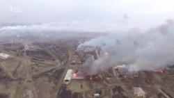 Пожежа на складі в Балаклії. Відео з безпілотника