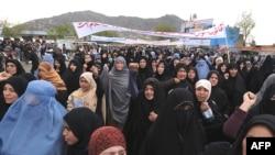 Ооган айымдары эскичил мыйзамга каршы. Кабул шаары, 2009-жылдын 15-апрели.