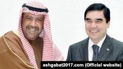 Aziýanyň Olimpiýa Geňeşiniň prezidenti Şeýh Ahmad Al-Ahmed Al-Sabah (çepde) we Türkmenistanyň prezidenti Gurbanguly Berdimuhamedow.