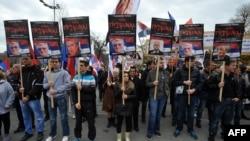 Protest protiv Tribunala u Hagu u Beogradu u novembru 2012. godine.