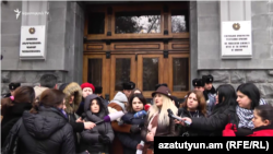 Armenia -- Bereaved mothers protest outside the Office of the Prosecutor-General, Yerevan, January 10, 2019.