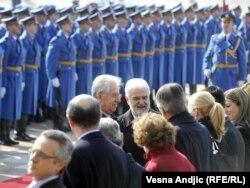 Mirko Cvetković dočekao je italijanskog premijera Marija Montija, Beograd, 8. mart 2012.