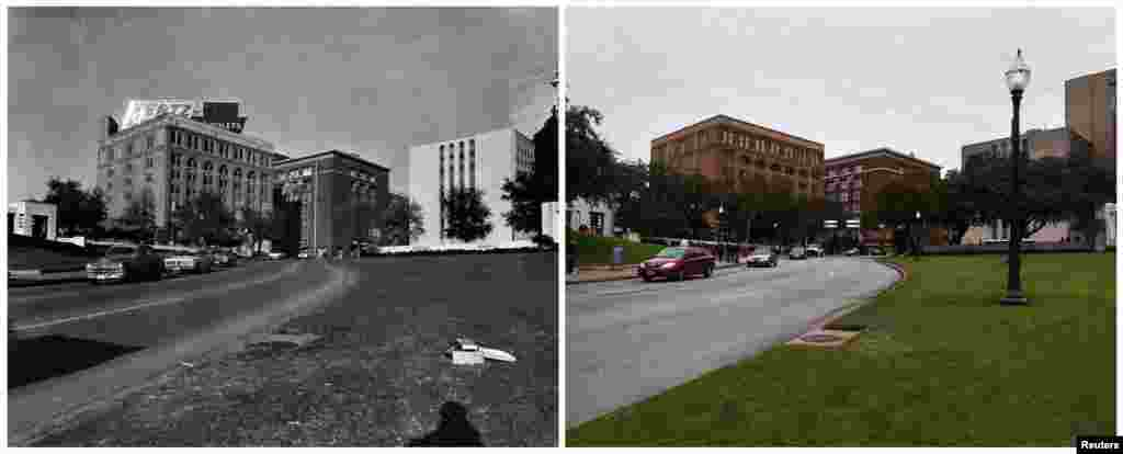 Left photo: Cars traveling on the road past the Texas School Book Depository in Dallas (now the Sixth Floor Museum) in Dealey Plaza on November 22, 1963. Right photo: The same place photographed on November 10, 2013.