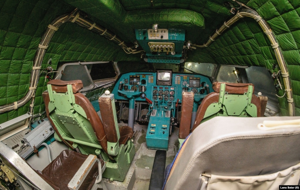 The cockpit of the vessel: the ekranoplan required a crew of 15 when it was operational.