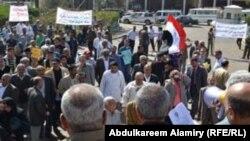 جانب من تظاهرة عمّال البصرة