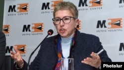 Armenia -- Larisa Minasian, director of Open Society Foundations-Armenia, speaks at a news conference in Yerevan, January 29, 2020.