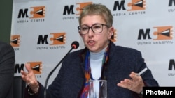 Larisa Minasian, executive director of Open Society Foundations-Armenia, speaks at a news conference in Yerevan, January 29, 2020.