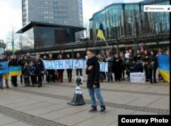 Акция в поддержку Майдана в Лейпциге.