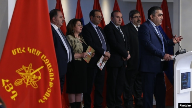 Armenia - Leaders of the Armenian Revolutionary Federation launch their election campaign in Yerevan, 5Mar2017.