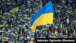 Уболівальники збірної України підтримують національну команду, Київ, НСК «Олімпійський», 14 жовтня 2019 року