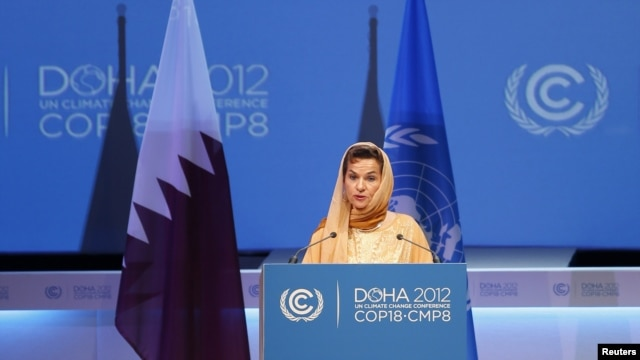 Christiana Figueres, executive secretary of the United Nations Framework Convention on Climate Change, speaks at the opening session of the UN Climate Change Conference in Doha on November 26.