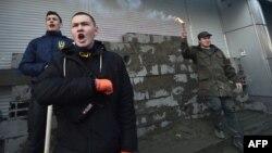 Protestatari în fața sediului Sherbank de la Kiev, 13 martie 2017
