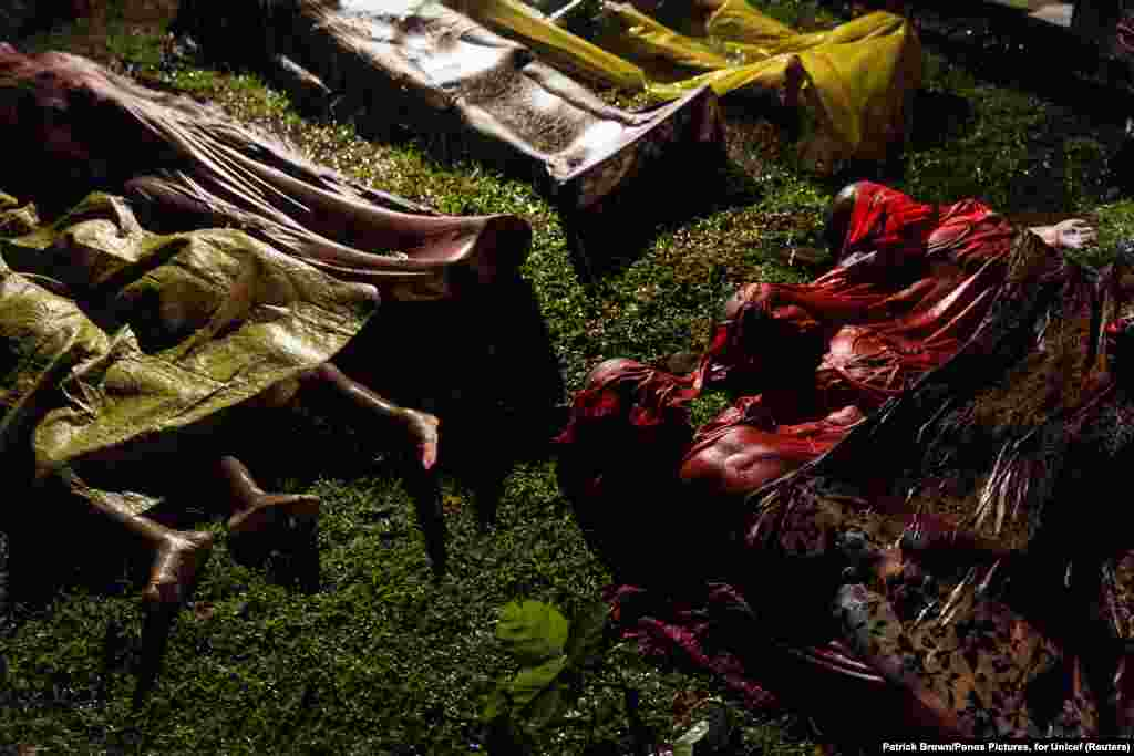 "The bodies of Rohingya refugees are laid out after the boat in which they were attempting to flee Myanmar capsized off the coast of Bangladesh. Hundreds of thousands of Rohingya fled Myanmar in the face of a military operation that the  UN High Commissioner for Human Rights called a ""textbook example of ethnic cleansing."" General News -- First Prize, Singles (Patrick Brown, Panos Pictures)"