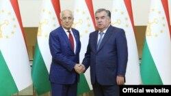 Эмомали Рахмон и Залмай Халилзад, Душанбе, 27 июня 2019 года