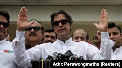 Pakistan's Prime Minister Imran Khan, speaks in a political rally in Islamabad, July 25, 2018
