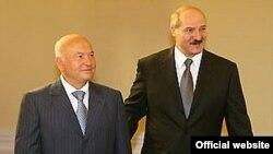 Юрый Лужкоў і Аляксандар Лукашэнка ў Менску, архіўнае фота.