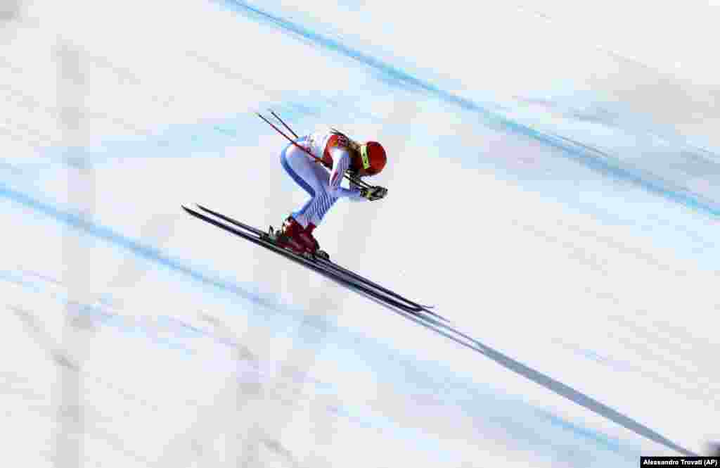 Alpine Skiing: United States' Mikaela Shiffrin competes in the women's combined downhill at the 2018 Winter Olympics in Jeongseon, South Korea, February 22, 2018. Mikaela took silver.