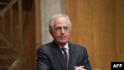 US Republican Senator from Tennessee Bob Corker, chairman of the Senate Committee on Foreign Relations, during a hearing on the Iran nuclear deal on Capitol Hill in Washington, December 17, 2015