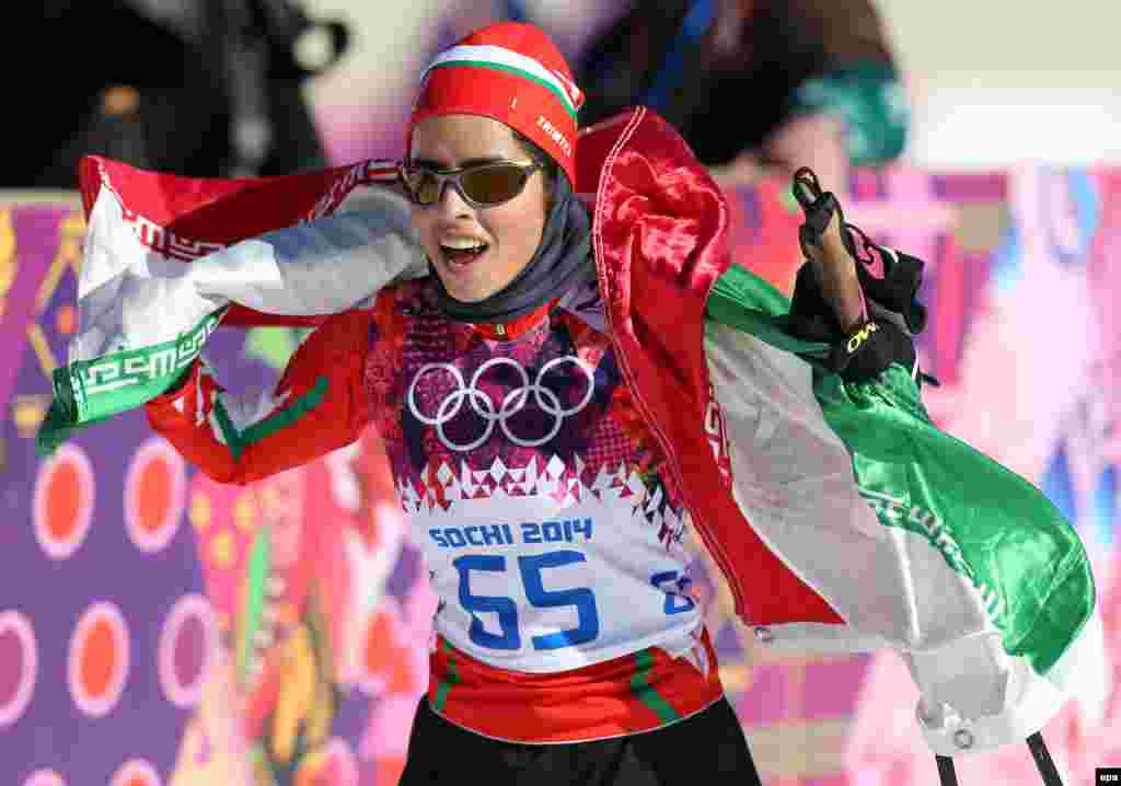 Cross-country skier Farzaneh Rezasoltani of Iran after the women's 10 kilometer classic competition.