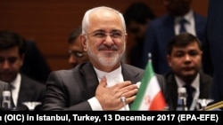 Iranian Foreign Minister Mohammad Javad Zarif attends the extraordinary summit of the Organization of Islamic Cooperation (OIC) in Istanbul, Turkey, 13 December 2017