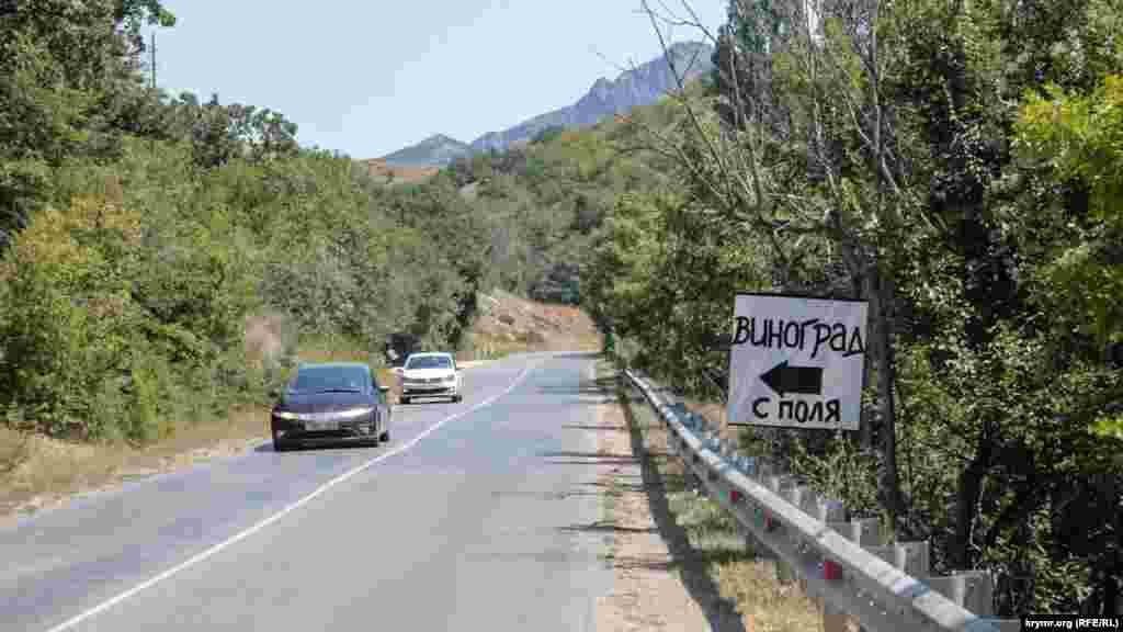 Вывески о продаже винограда висят прямо у дороги из Феодосии в Судак