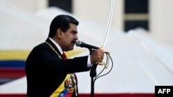 Николас Мадуро выступает во время церемонии инаугурации. Каракас, 10 января 2019 года.
