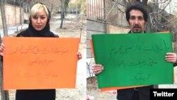 مجید دری (سمت راست) و مهدیه گلرو (سمت چپ).