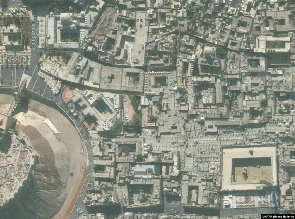 Old Town, Aleppo 2010-2014 Much of the historic Old Town in Syria largest city Aleppo has been destroyed, including the Great Umayyad Mosque (pictured in the lower right).