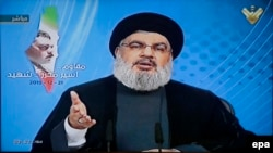 A grab picture from Hezbollah's al-Manar TV shows Hezbollah leader Sayyed Hassan Nasrallah giving a televised address.
