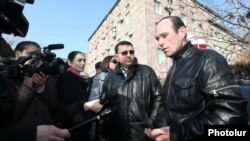 Armenia -- Workers of Electricity Networks of Armenia protest against pension reform, Yerevan, 13 February, 2014.