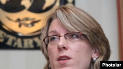 Armenia -- Nienke Oomes, the IMF's resident representative to Armenia, speaks at a news conference on 24Jun2009