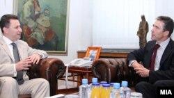 Средба на генералниот секретар на НАТО, Андрес Фог Расмусен со македонскиот премиер Никола Груевски во Скопје.