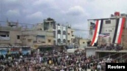 Syria -- A video grab shows anti-government demonstrators rallying in Jasim, Daraa Governorate, 22Apr2011