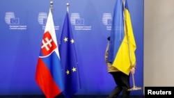 Ілюстраційне фото. Подіум засідання Ради асоціації Україна-ЄС. Брюсель, 19 грудня 2016 року