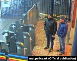 A CCTV image issued by London's Metropolitan police showing Ruslan Boshirov and Alexander Petrov at Salisbury train station.